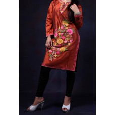 Brown Tussar Silk Aari Embroidered Kurti