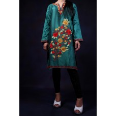 Pine Green Aari Embroidered Kurti