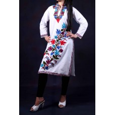 White Cotton Aari Embroidered Kurti