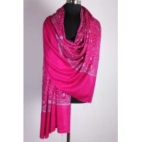 Fast Pink Embroidered jaali  Cashmere Pashmina Shawl
