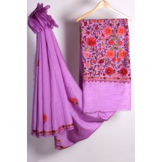 Violet Floral Jalida  Aari Embroidered Silk Saree
