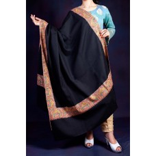 Black Dhoor Daar Sozni Embroidered Shawl